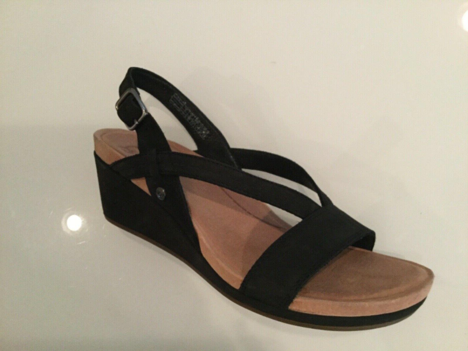 womens wedge sandals black suede leather new