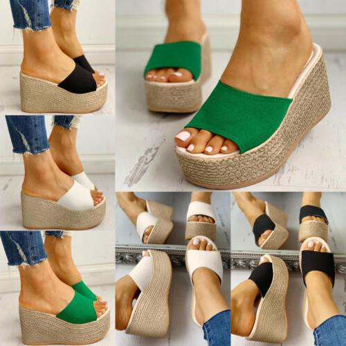 WOMENS WEDGE HEELS PLATFORM ESPADRILLE SUMMER PARTY SHOES