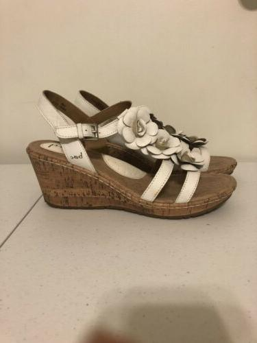 "womens white size b.o.c. 2 3/4"" wedge strappy"