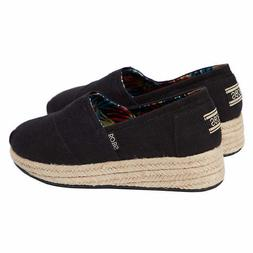 Skechers Ladies' BOBS Wedge Canvas Black FREE SHIPPING