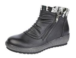 Ladies Fashion Boots Low Side Zip Ankle Boot Outside Zip Tri