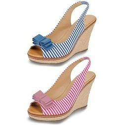 Ladies Peep Toe Striped Espadrille Bow Accent Women's Shoes