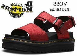 Dr Martens Ladies Voss Red Glitter PU Comfy Wedge Sandals