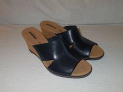 Clarks Lafley Mio Platform Wedges Navy Leather Women's Size