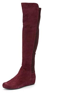 lander over knee wedge boots
