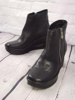 FLY London Leather Wedge Booties Ankle Boots - Yado - Black