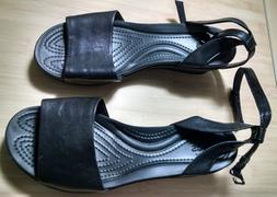 Crocs Leigh-Ann Black Leather Strappy Wedge Sandals - Size 8