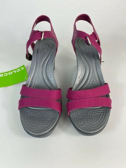 Crocs Leigh II Ankle Strap Wedge Berry Standard Fit 202511-6