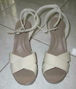 CROCS  LEIGH II CROSS STRAP ANKLE WEDGE HEEL SHOES SIZE 11 N