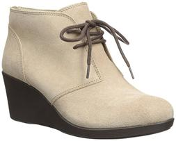 crocs Women's Leigh Suede Wedge Shootie Boot, Tan, 8 M US