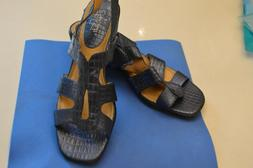Life Stride navy blue faux alligator wedge strappy sandals -