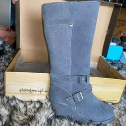 BEARPAW Lombard 1400W/Charcoal Gray Suede Wedge Tall Boots W