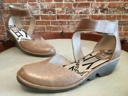 Fly London Luna Camel Leather Pats Closed Toe Wedge Shoes 40