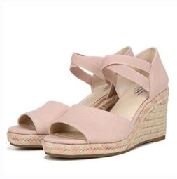 LifeStride Maple Cork Wedge Sandal White Cushioned Open Toe