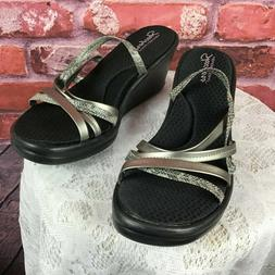 Skechers Memory Foam Women's Pewter Wedge Sandals Size 11 NW