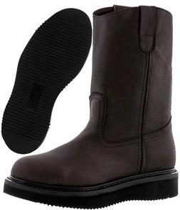 Mens Smooth Genuine Leather Work Boots Oil Resistant Wedge S
