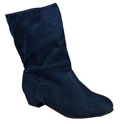 Women Mid Calf Boots Suede Square Heel Slip-On Round Toe Sho