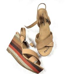 Montego Bay Club Women Tan Sz 7.5 M Striped Wedge Heels Sand