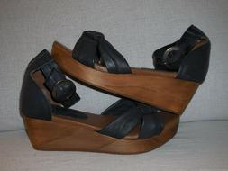 "Musse & Cloud Womens ""Kiers"" Faded Black Leather Wedge  Sz 6"