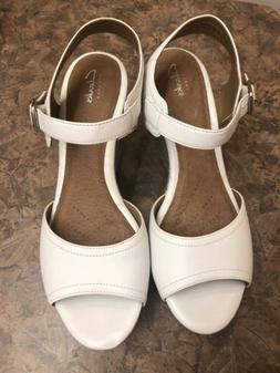 Clarks Nadene Lola Women  White Leather Espadrille Wedge Pla