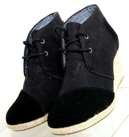 Toms Natural Burlap Sierra Black Suede Cap Toe Espadrille We