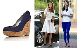 NEW $440 Stuart Weitzman Corkswoon Suede Nice Blue Wedge Sho