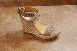 New! Stuart Weitzman 'Alex' Crochet Wedge Sandals Gray Women