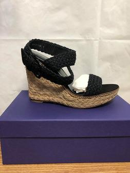 NEW Stuart Weitzman Alex Nero Crochet Espadrille Wedge Sanda