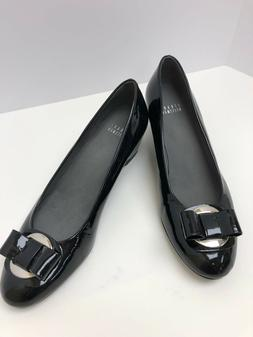 NEW STUART WEITZMAN Black Patent Leather Shoe, Bow, Silver B