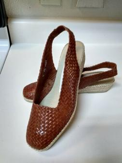 New Andre Assous Brown Woven Leather Espadrille Wedge Sling