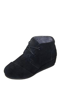 TOMS New Desert Wedge Black Suede 4 Youth Shoes