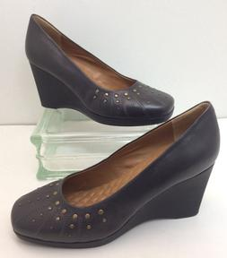 """NEW Easy Spirit E Collection Gray Soft Leather 3"""" Wedge Heel"""
