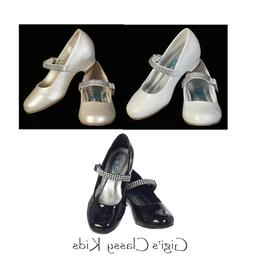 New Flower Girls Kids Youth Wedges Black Ivory White Strap P