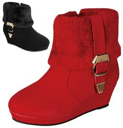 NEW Girls Short Ankle Boots Fur Suede Buckle Strap Wedge Hee