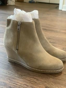 NEW! J. Crew Wedge Boots Ankle Booties Flax Nubuck Leather W