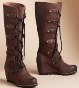 NEW SOREL Joan Of Arctic Hawk 8.5 Wedge Tall Brown Boots HTF