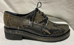 NEW Robert Clergerie Lace Up ODINE snakeskin Wedge  Oxfords