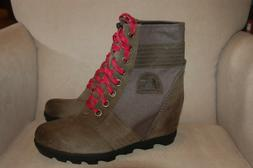 New Sorel Lexie Waterproof Wedge Lace Ankle Boots Quarry Gra