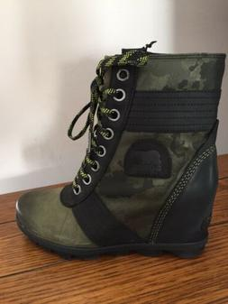 NEW Sorel Lexie Wedge Size 8.5 Hiker Green Leather Canvas Ca
