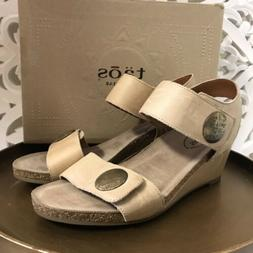 New TAOS Metallic Wedge Sandal - Carousel 2 Taupe 9, 9.5 US