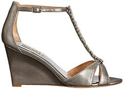NEW Badgley Mischka Pewter Romance Wedge Jeweled T-Strap Dre