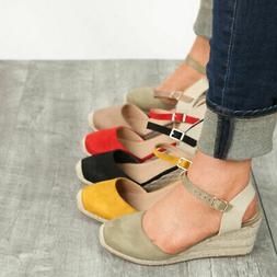 New Round Toe Mary Jane Ankle Strap Espadrille Sandals Wedge