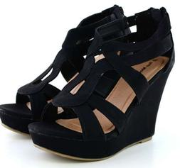 NEW SIZE 6.5 BLACK Gladiator Wedge Sandal~Open Toe High Heel