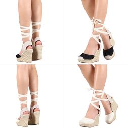 NEW Strappy Leg Wrap Lace Up Crochet Espadrille Wedge Platfo