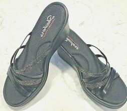 New SKECHERS Sz 9 Black Strappy Wedge Woman's Memory Foam