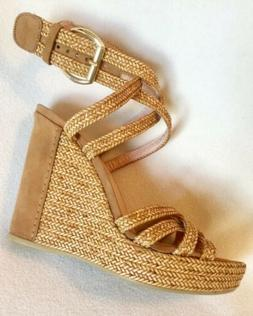 New Stuart Weitzman Tan Braided Strap Wedge Sandals Ankle St