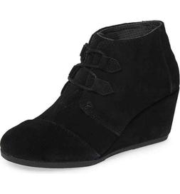 NEW TOMS Women's Kala Booties Wedge Ankle Oxford Boots Black