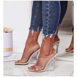 New Transparent Clear Nude Open Toe Lucite Wedge Heel Slide