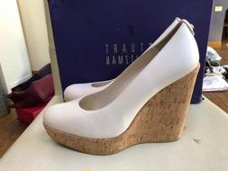 new white corkswoon wedge sandals size 39