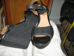 "NEW Clarks Women Black Leather Buckle Wedge 3.5"" Heel Shoes"